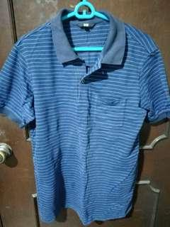 Uniqlo Blue Striped Dry Pique Polo Shirt Size XL