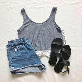 Navy Sleeveless Lace Stripe Top (Forever21)