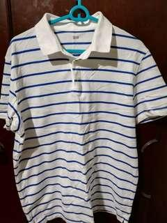 Uniqlo White Stripe Dry Polo Shirt Size XL