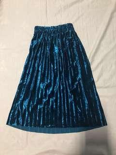 Blue Velvet Pleated Skirt