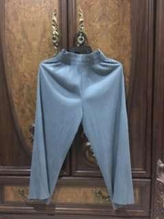 Pleated Ankle Blue Pants