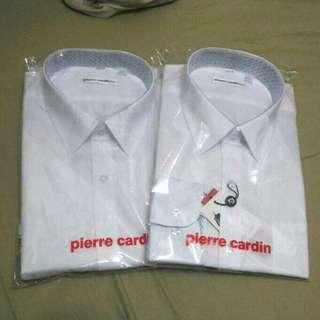 (專櫃購) Pierre Cardin slim 白色商務襯衫44號(約等於XL)兩件1000
