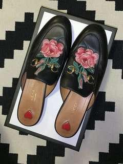 10000% Authentic Gucci Princetown floral flower embroided loafers slides flats shoes prince town appliquéd leather slippers