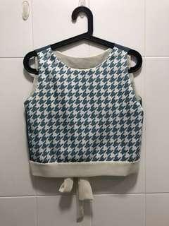 Houndstooth Boxy Cropped Top