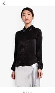 REDUCED Something Borrowed Studded Satin Shirt