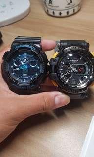 g shock 冰湖迷彩藍台灣公司貨(左)
