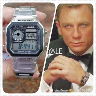 Guarantee 100% Brand new authentic CASIO Illuminator Watch Or Full Refund. Water Resistant 100M  Stainless Steel Band, 10 Years Battery Life, Nicknamed Casio Royale, James Bond style watch ( 1 available only  )AE1200 AE 1200 WHD 1A AE1200whd watch sale
