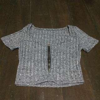 Gray Crop Top