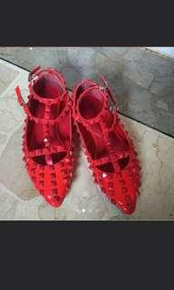 Red studes shoes valentino