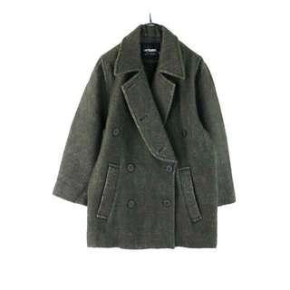日本【LAUTREAMONT】深灰雙排扣羊毛短大衣9R