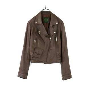 正韓【ICINOO】深咖啡色小羊皮騎士皮衣#55