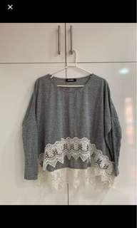 Missguided Lace Crop Grey Long Sleeve Top