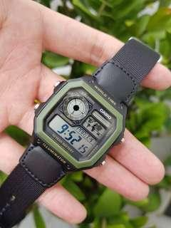 Guarantee 100% authentic brand new Casio Watch Or Full Refund, Water Resistant 100M, 10 Years Battery Life, Black Nylon Band AE-1200WHB-1BV(only 1 available, rarely in shops ) unisex watch AE 1200, ae1200, ae1200whb Casio Royale, casio sale