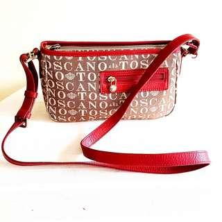 Original TOSCANO Leather & Fabric Handbag. Good & Beautiful condition, hardly used, like new. $48. WhatsApp 96337309.