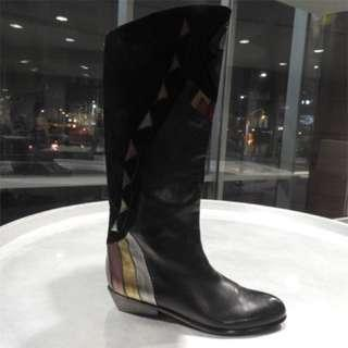 """""""Mary poppins"""" Black leather boots with metallic and suede detail"""