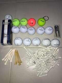 Golf items (Asian Tour tees, Rolex divot repair tool, SG Open Player badge, Volvik colourful balls, etc)