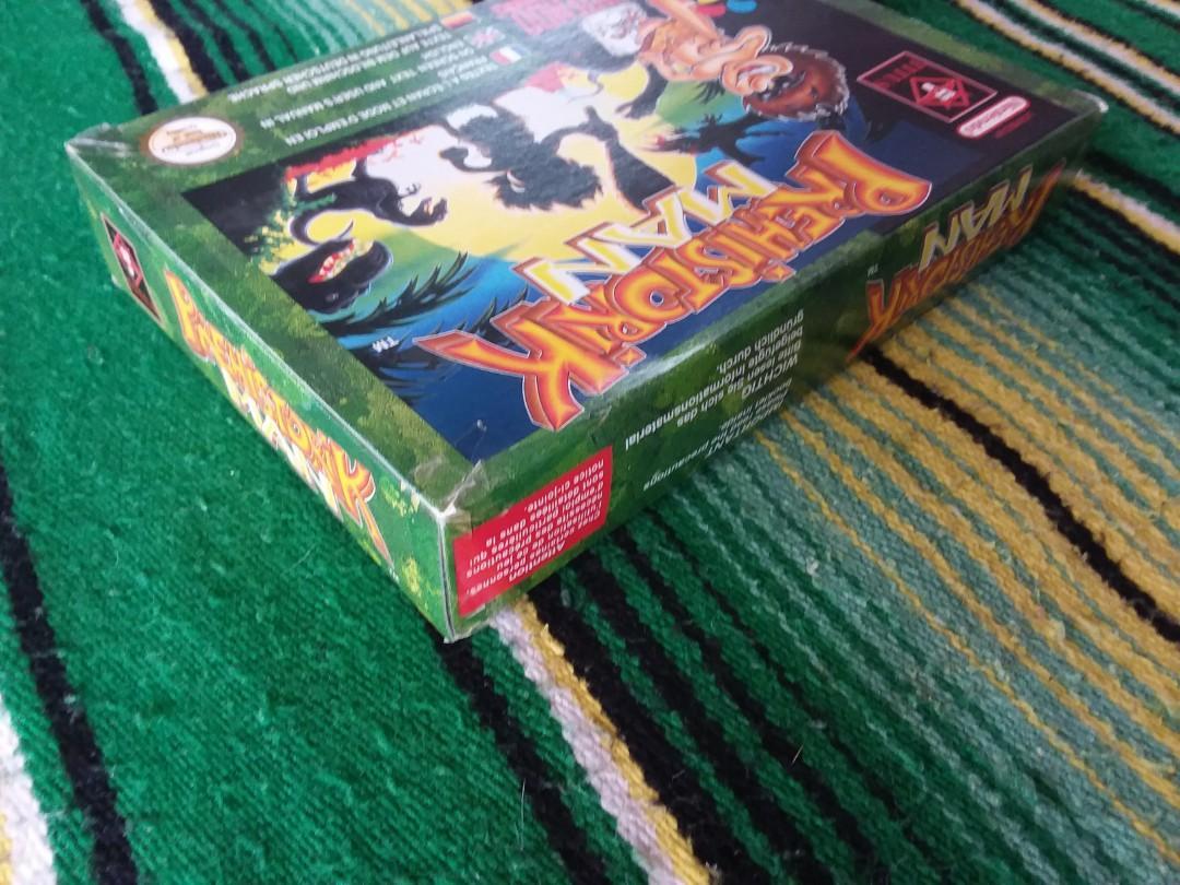 90s Super Nintendo Video Game Prehistorik Man Boxed Game SNES RARE