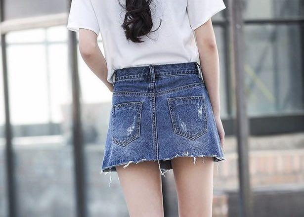 A字顯瘦牛仔褲裙防走光