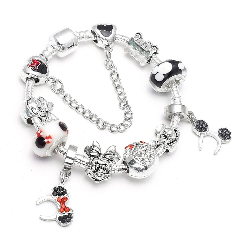 67a3058d5dc BAOPON Dropshipping Mickey Minnie Charm Bracelet With Nice Marano Beads Fit  Original Fine Bracelet For Kids Special Gift
