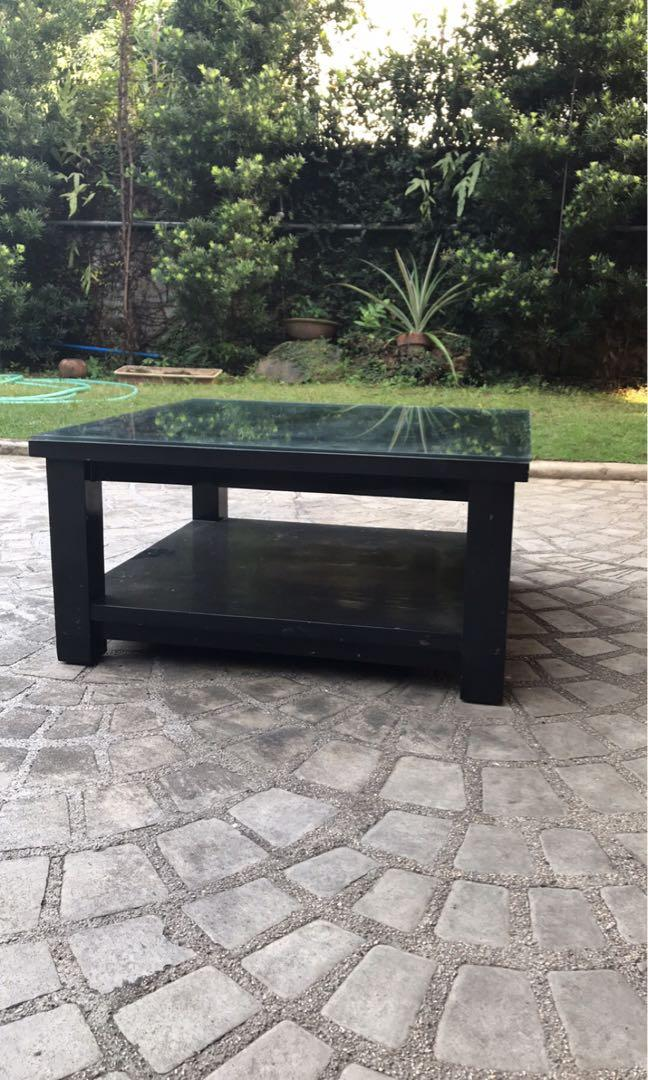 Big Black Heavy Square Coffee Table With Glass Home Furniture Furniture Fixtures Others On Carousell