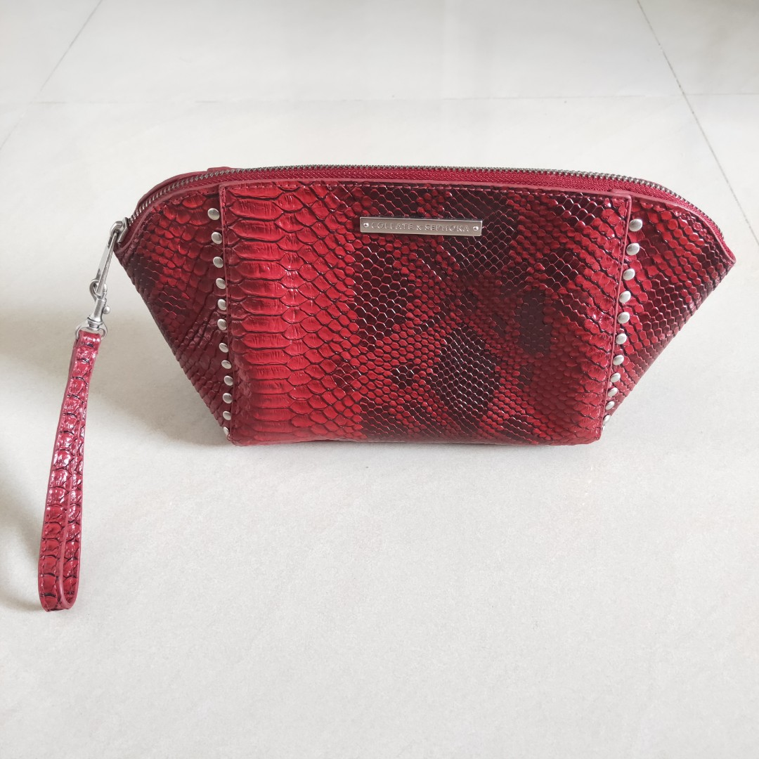 c37f3197c0b7 BN Collate x Sephora Maroon Red Faux Snake Skin Leather with Silver ...