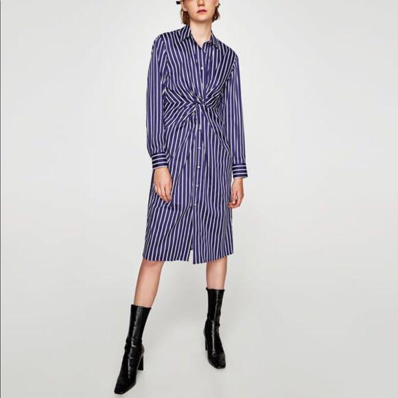 694061916b BNWT ZARA Striped Shirt Dress in Blue   White with Knot Detail ...