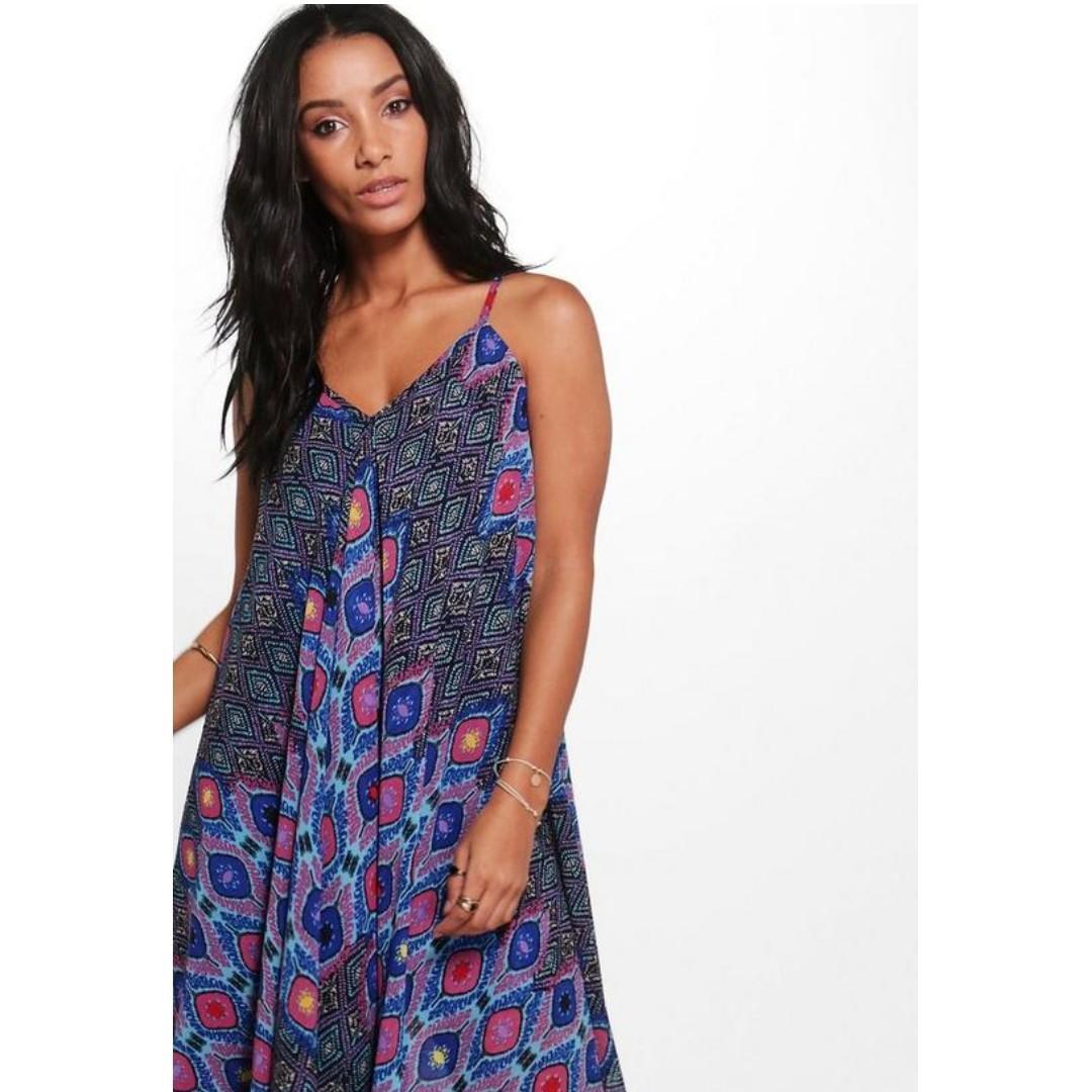 BOOHOO Asymmetric Hem Dress Boho Design Singlet Strap Flowy Hanky Hem Festival Gypsy Pattern Summer Beach Chiffon