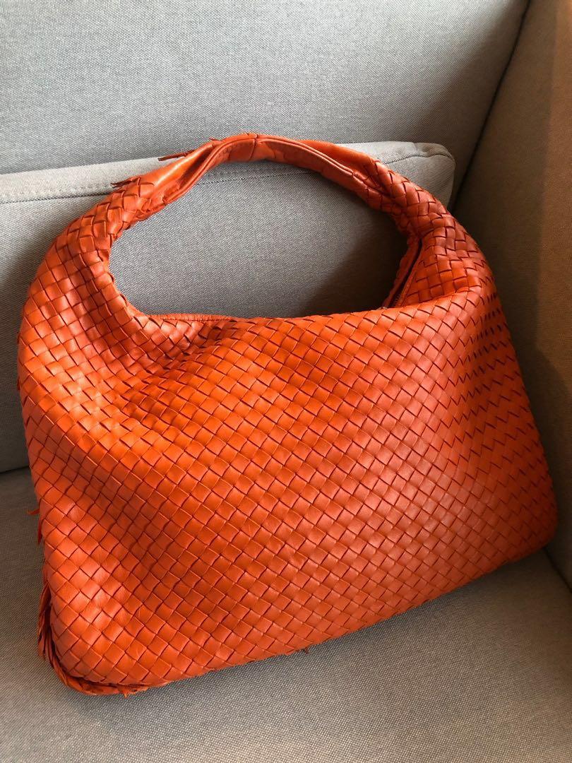 Bottega Veneta orange hobo leather frills edge  736aa4596ca9d