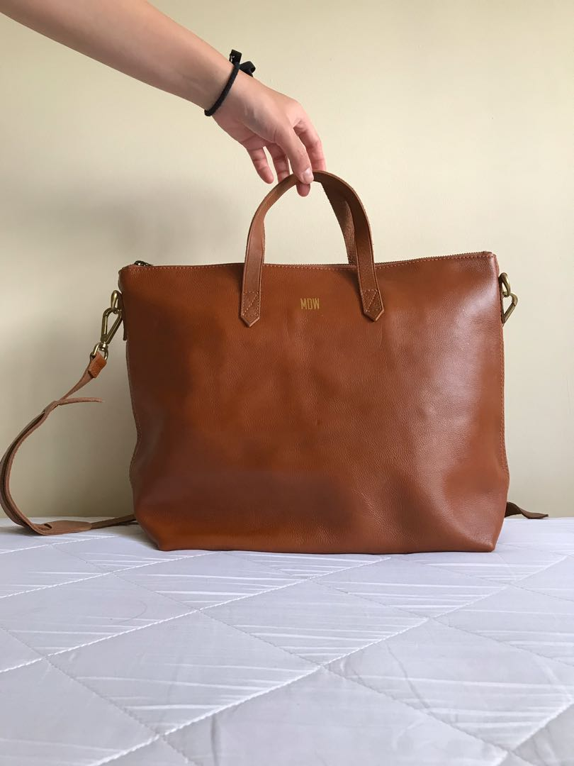 c61959ce0193 Brown leather handbag with sling by Madewell