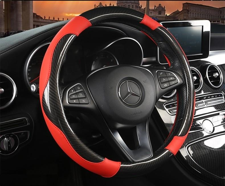 Carbon Fibre W Leather Car Steering Wheel Cover With Different