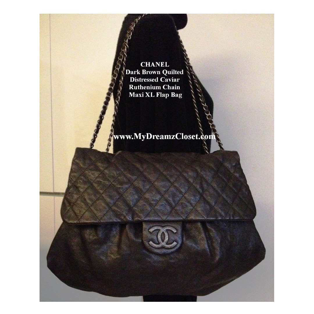 cb03f63e211c CHANEL Dark Brown Quilted Distressed Caviar Ruthenium Chain Maxi XL ...