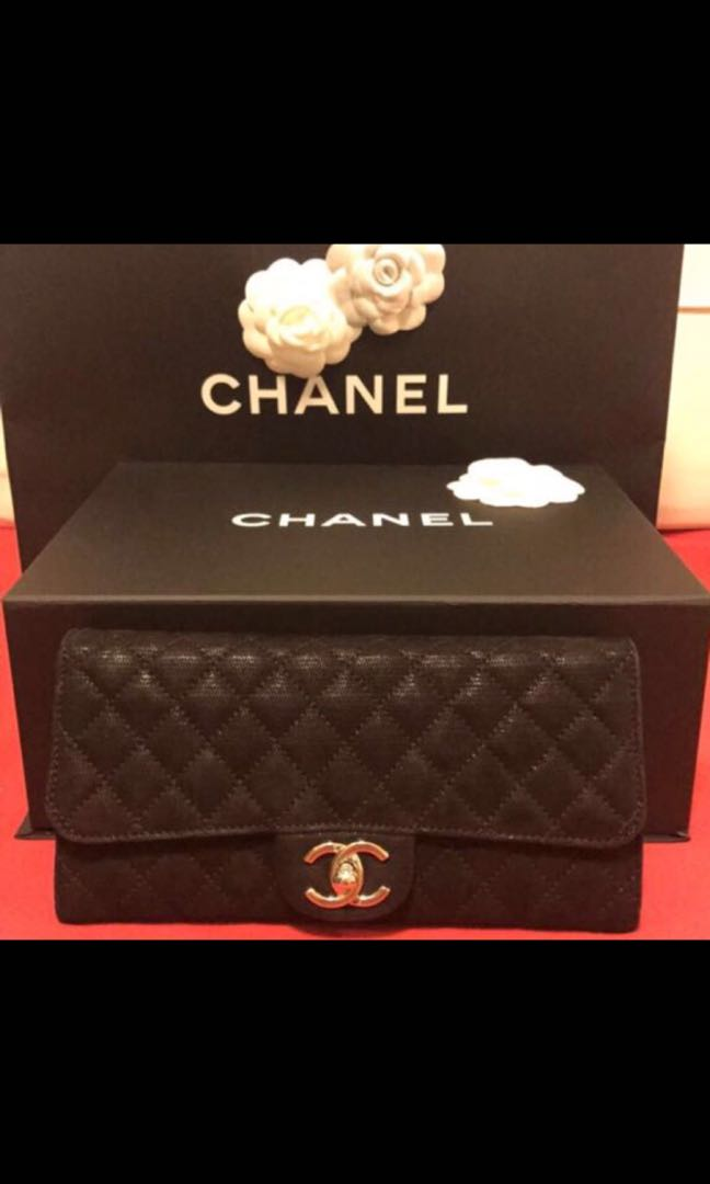 698d0e17f273 Chanel WOC Silver Quilted Suede Flap Wallet on Chain Clutch with CC ...