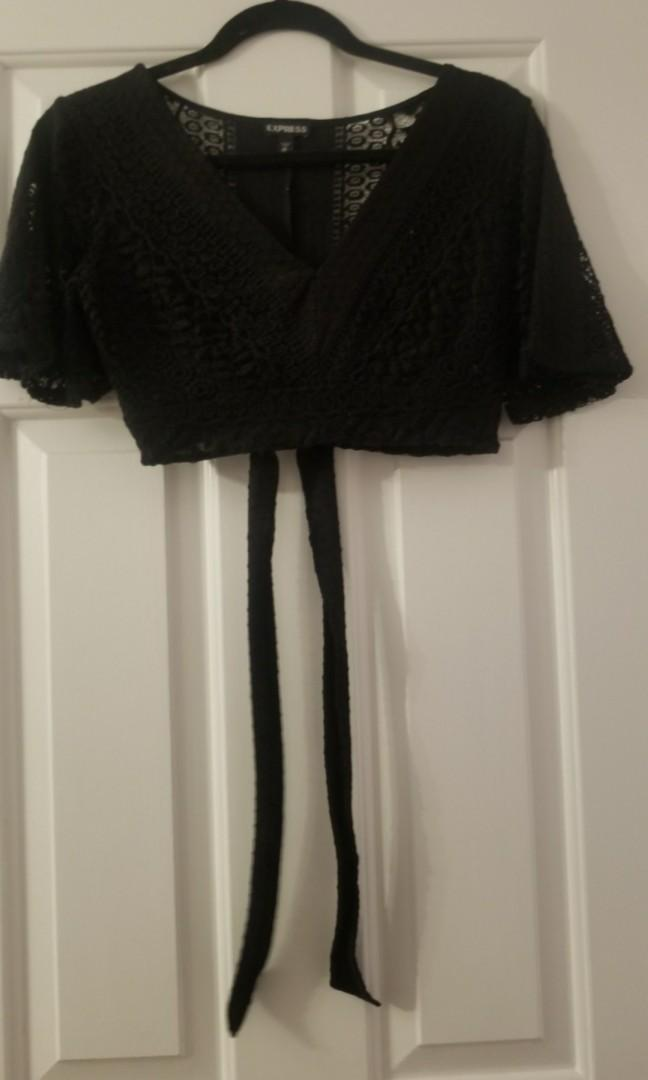 Cute Express black lace crop top with tie on the back XS