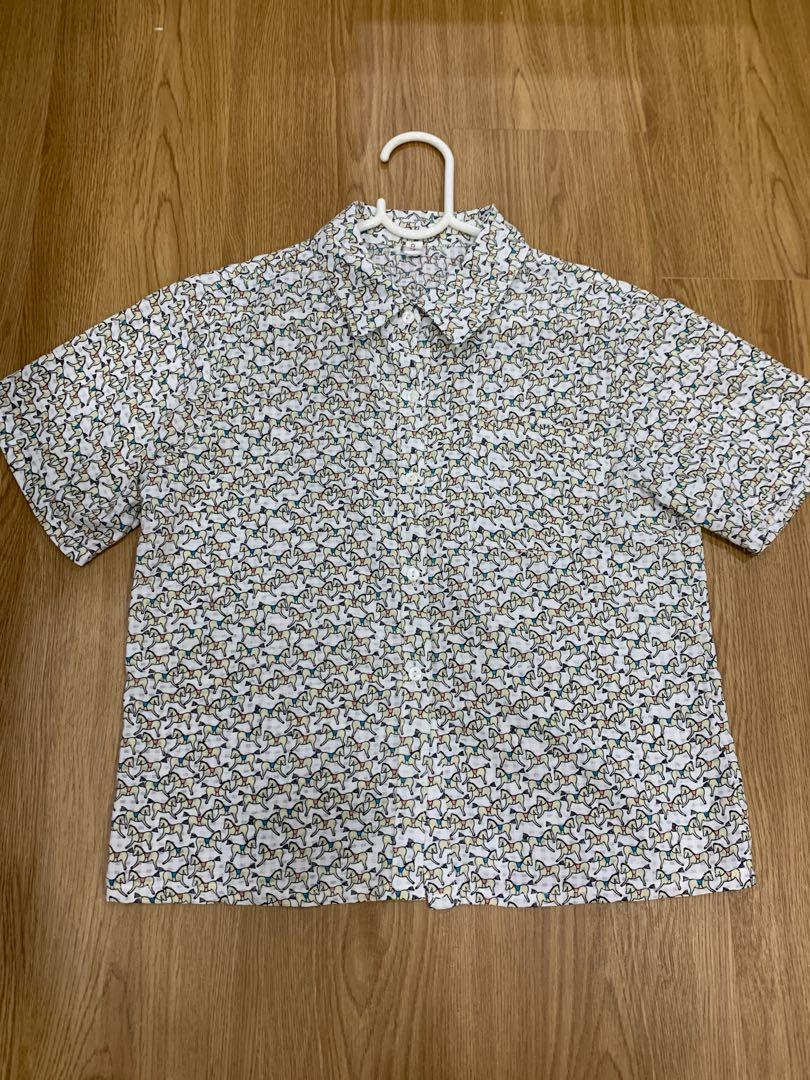 Cute Vintage Unicorn Horse Collared Button Up Crop Top