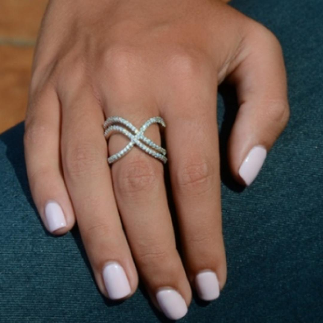 Double X Ring Made with Swarovski Crystal Elements (Size 6.5)