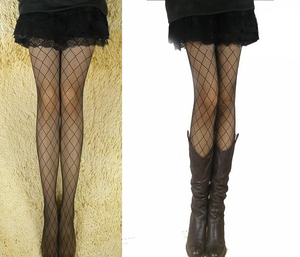 😆FREE SHIPPING* under 500g😆 (Black) Sexy Lace Fishnet Thigh High Stockings Small Net Thigh