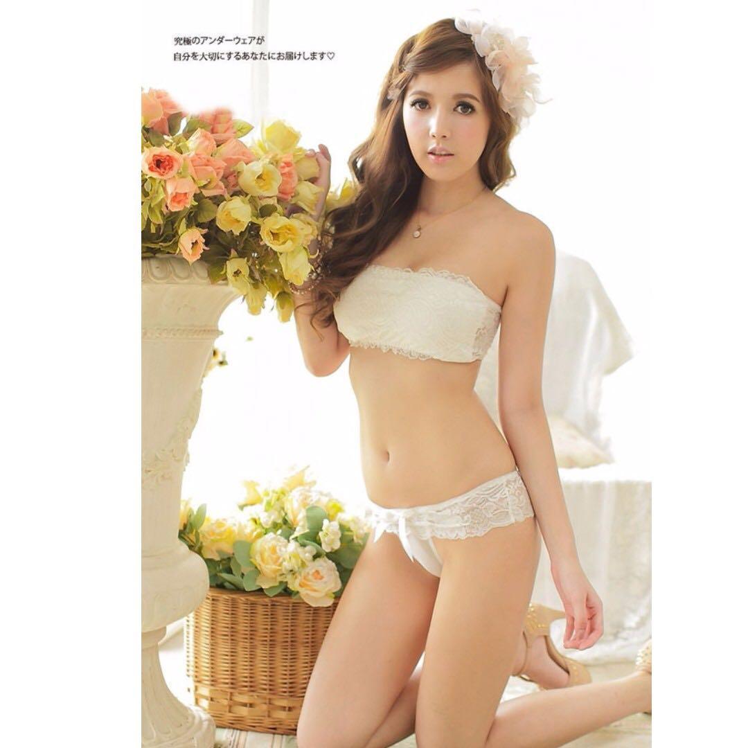 😆FREE SHIPPING* under 500g😆 (Black/White) Women Girl Sexy Slim Floral Lace Crop Bralette Bustier G-string Thongs Bra Sets