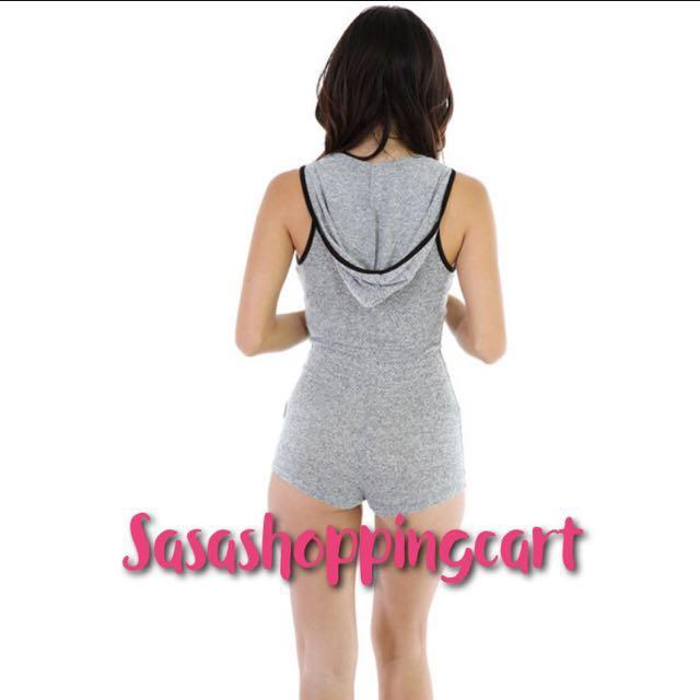 😆FREE SHIPPING* under 500g😆(Grey) European and American foreign trade with a hooded sexy sleeveless Siamese pants