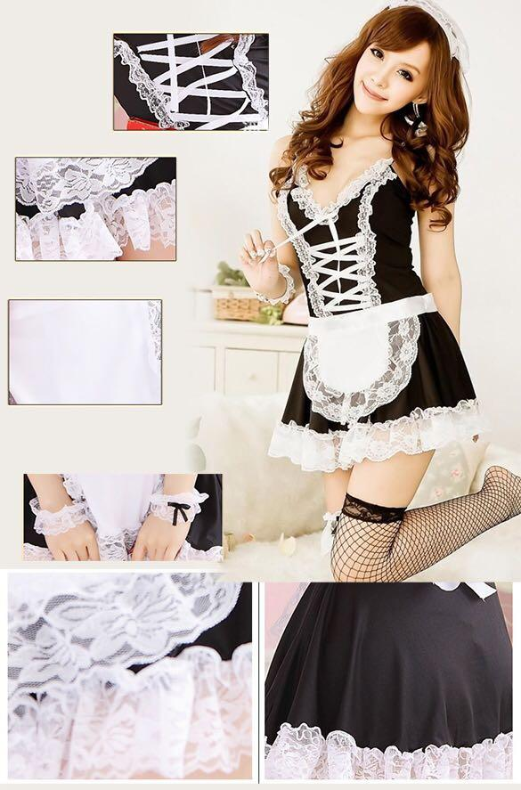 😆FREE SHIPPING* under 500g😆*Recommend Women's Maid Servant Lace Costume Female Sexy Dress Sexy Lingerie
