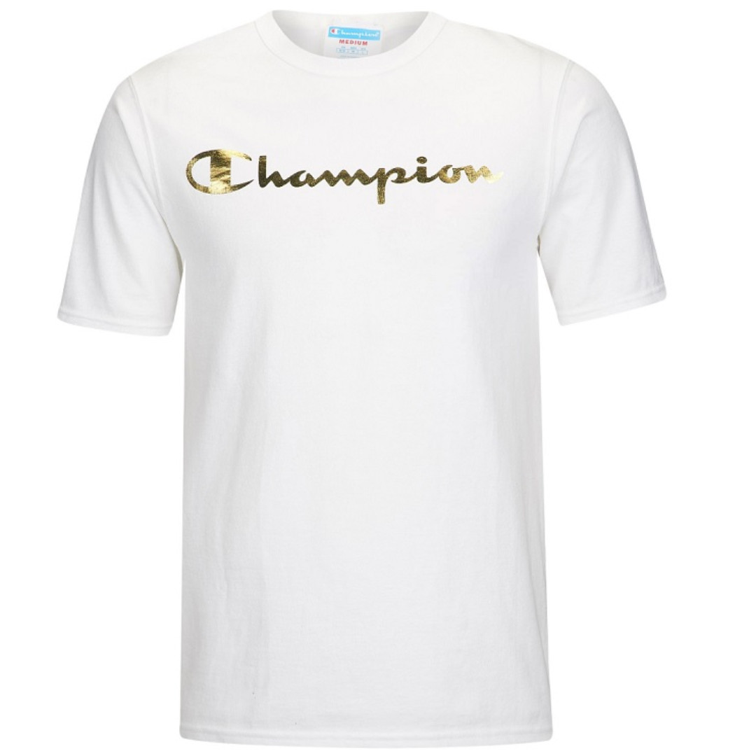 1c7f0ac1157a 🔥In Stock🔥 Champion Script Tee White with Gold Wording