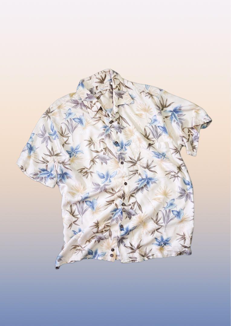 be34ac7d Korean Oversized Tropical Hawaiian Floral Button Shirt, Men's ...