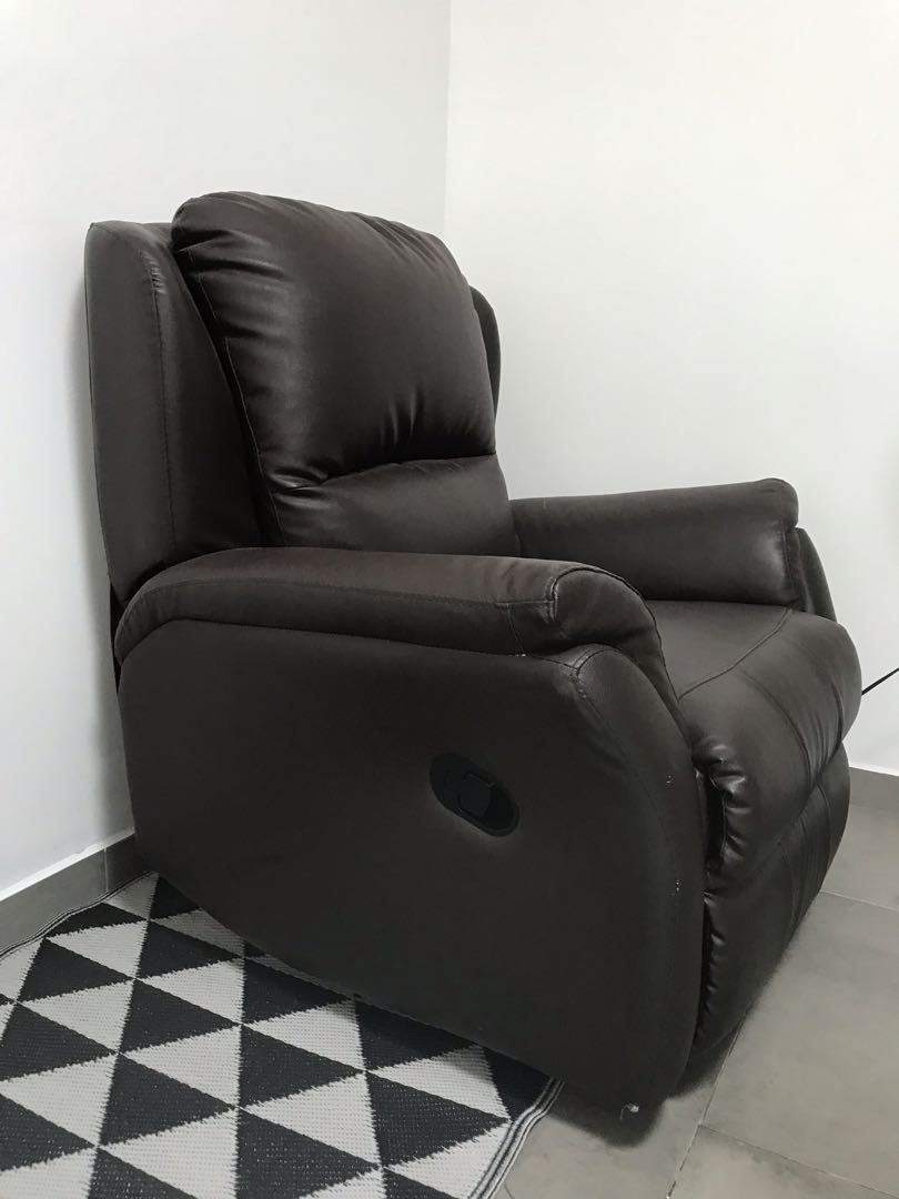 Leather Reclining Sofa Brown