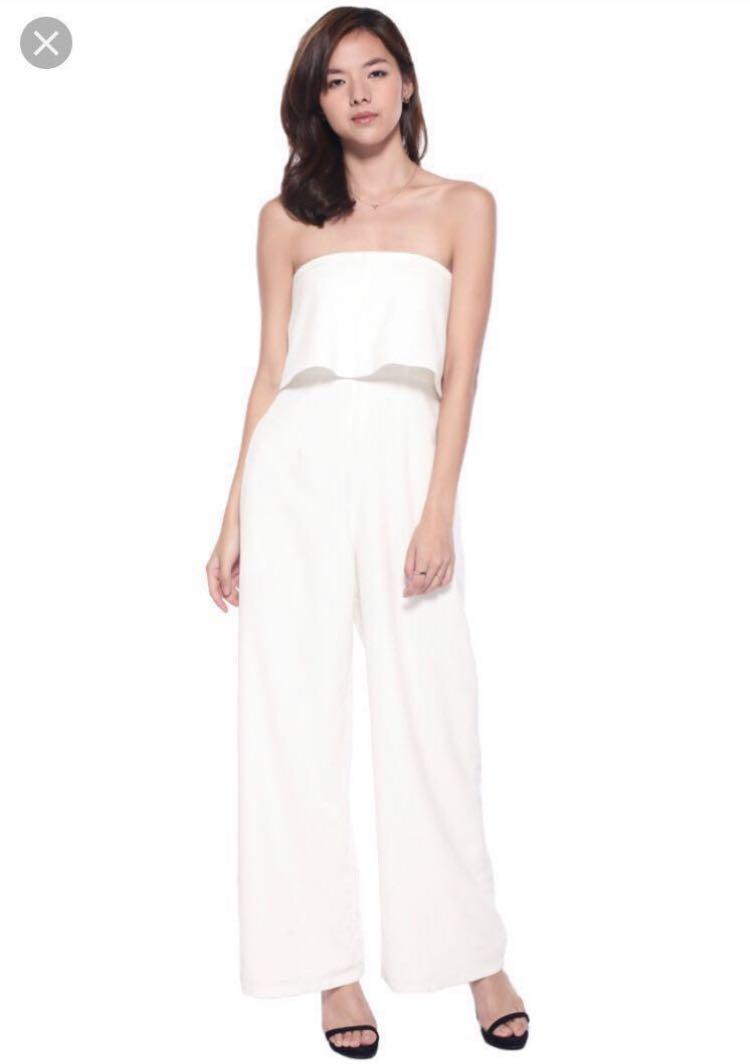 cabd2121d Love Bonito Jaxine Jumpsuit in Cream, Women's Fashion, Clothes ...