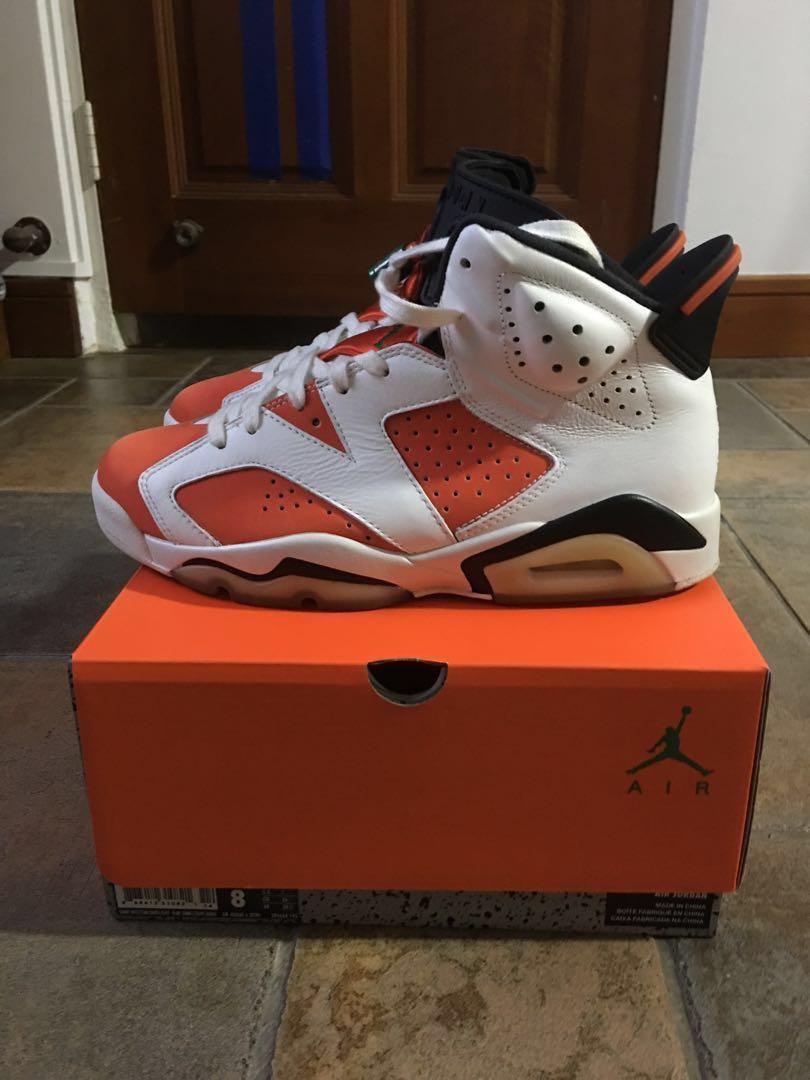 6ac91682a7f Nike Air Jordan 6 Gatorade White Orange, Men's Fashion, Footwear ...