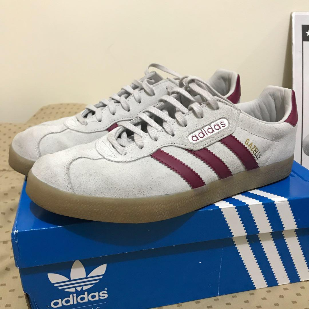 Original Adidas Gazelle Super Color Grey Maroon Men S Fashion
