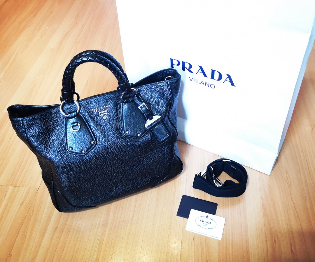 d75ed7ce0d1b PRADA [NEGO FastDeal] Vitello Daino Leather Tote, Luxury, Bags ...