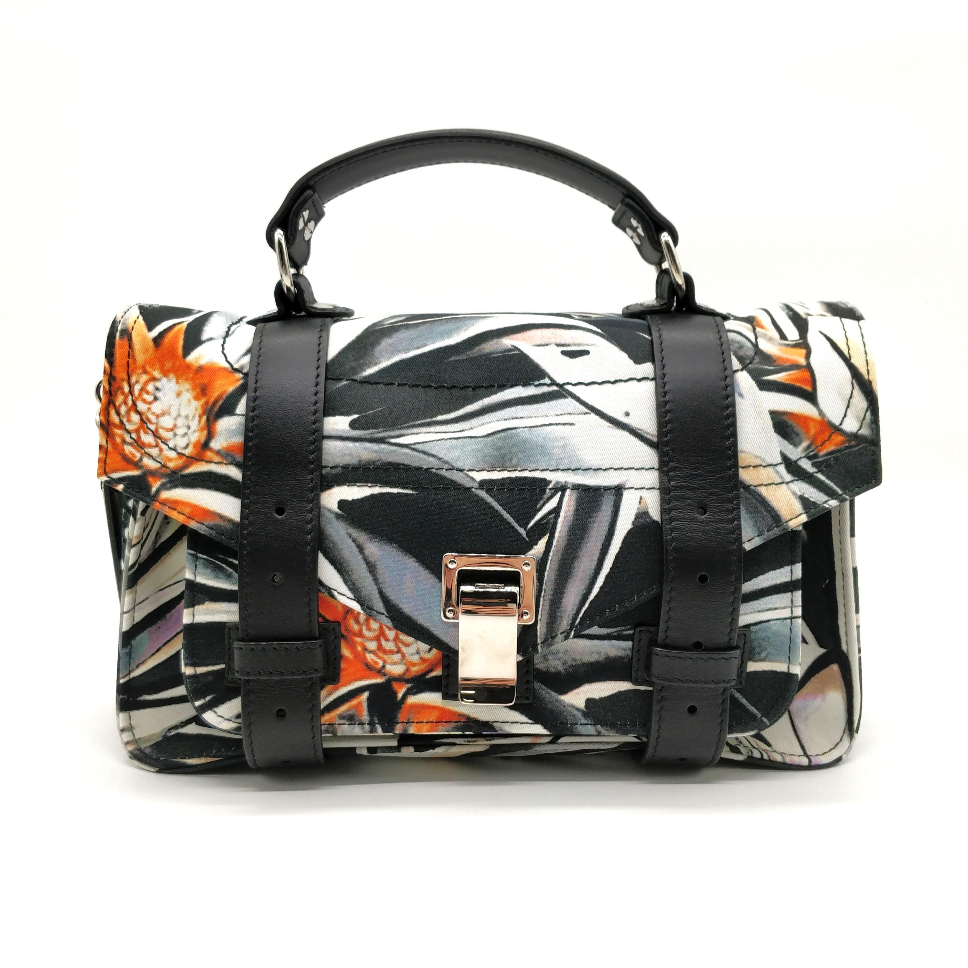 02e362c3298432 PROENZA SCHOULER PS1 Tiny Nylon Floral Print (Black/White), Luxury ...