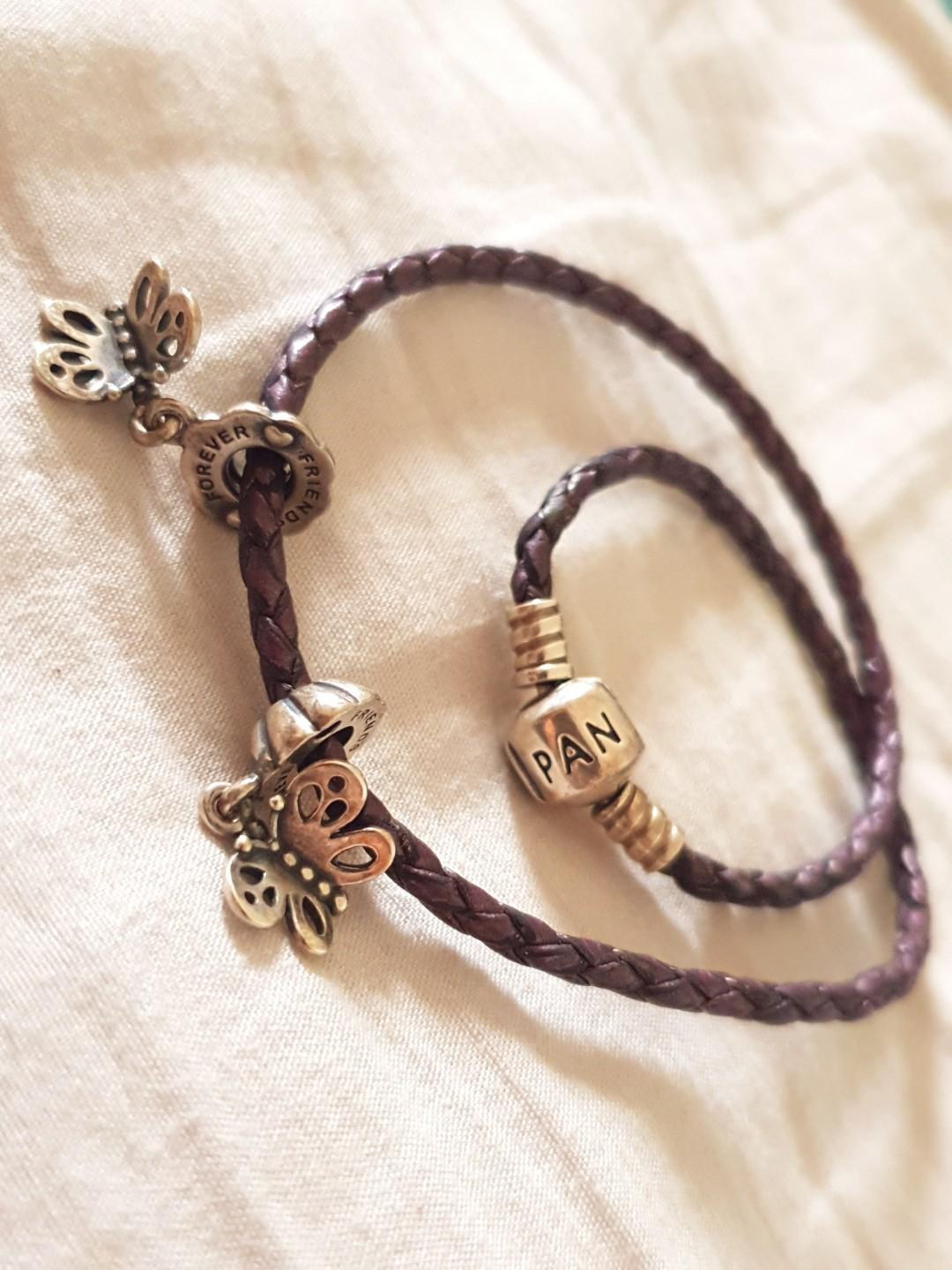 Purple pandora bracelet with 2 charms