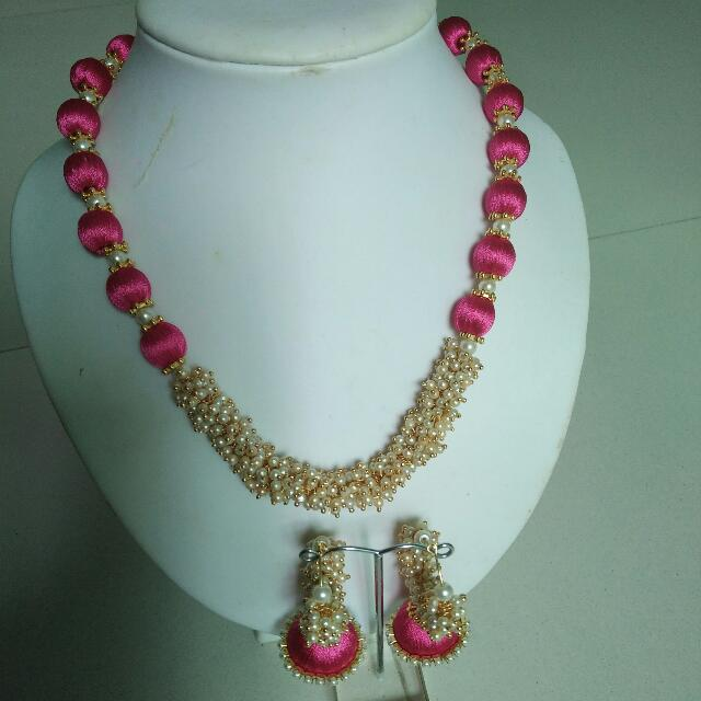 bb291efc94 Silk thread Necklace with Loreal Pearls., Women's Fashion, Jewellery,  Necklaces on Carousell