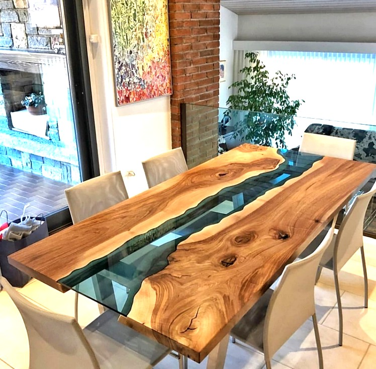 RUBEN Solid Suar Wood Epoxy River Dining Office Table ...